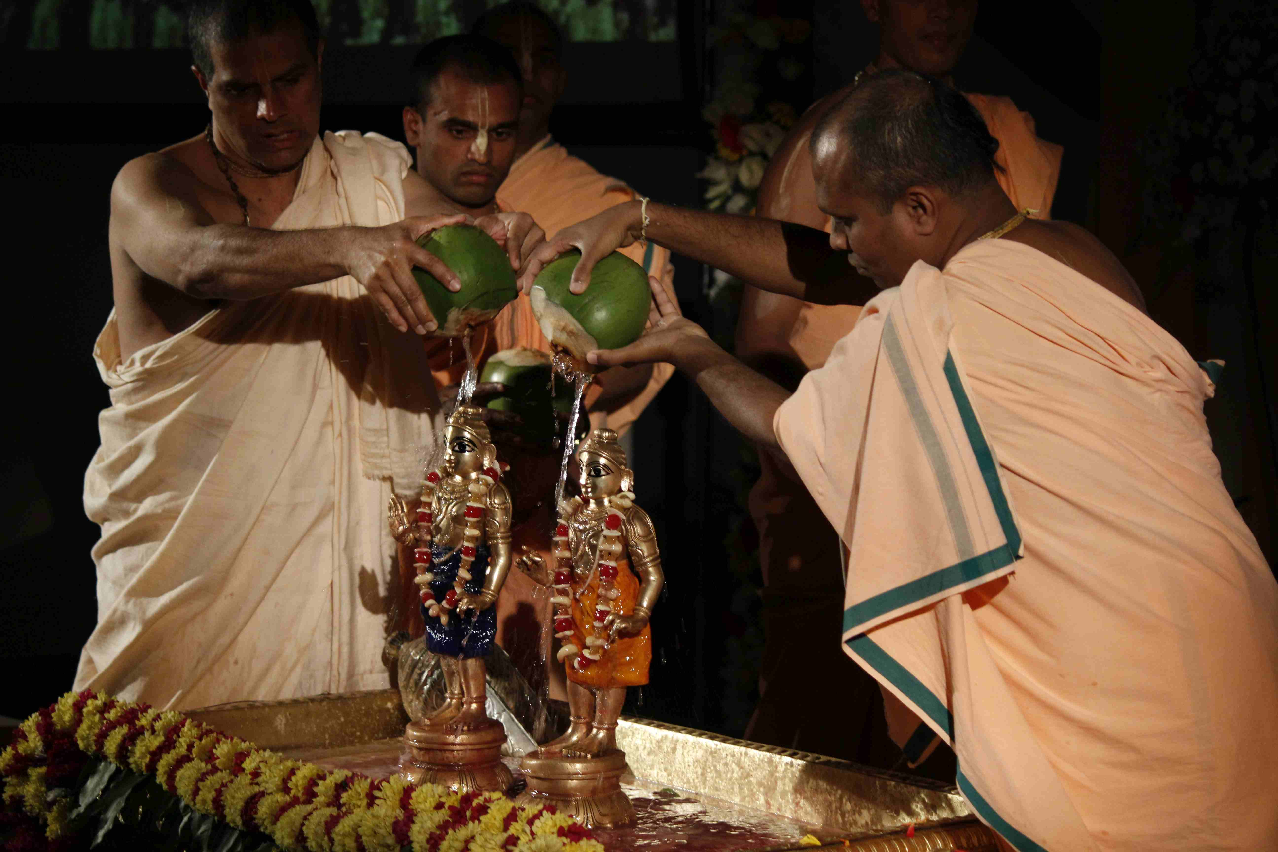 Sri Sri Krishna Balaram receiving Abhisheka with Tender Coconut Water
