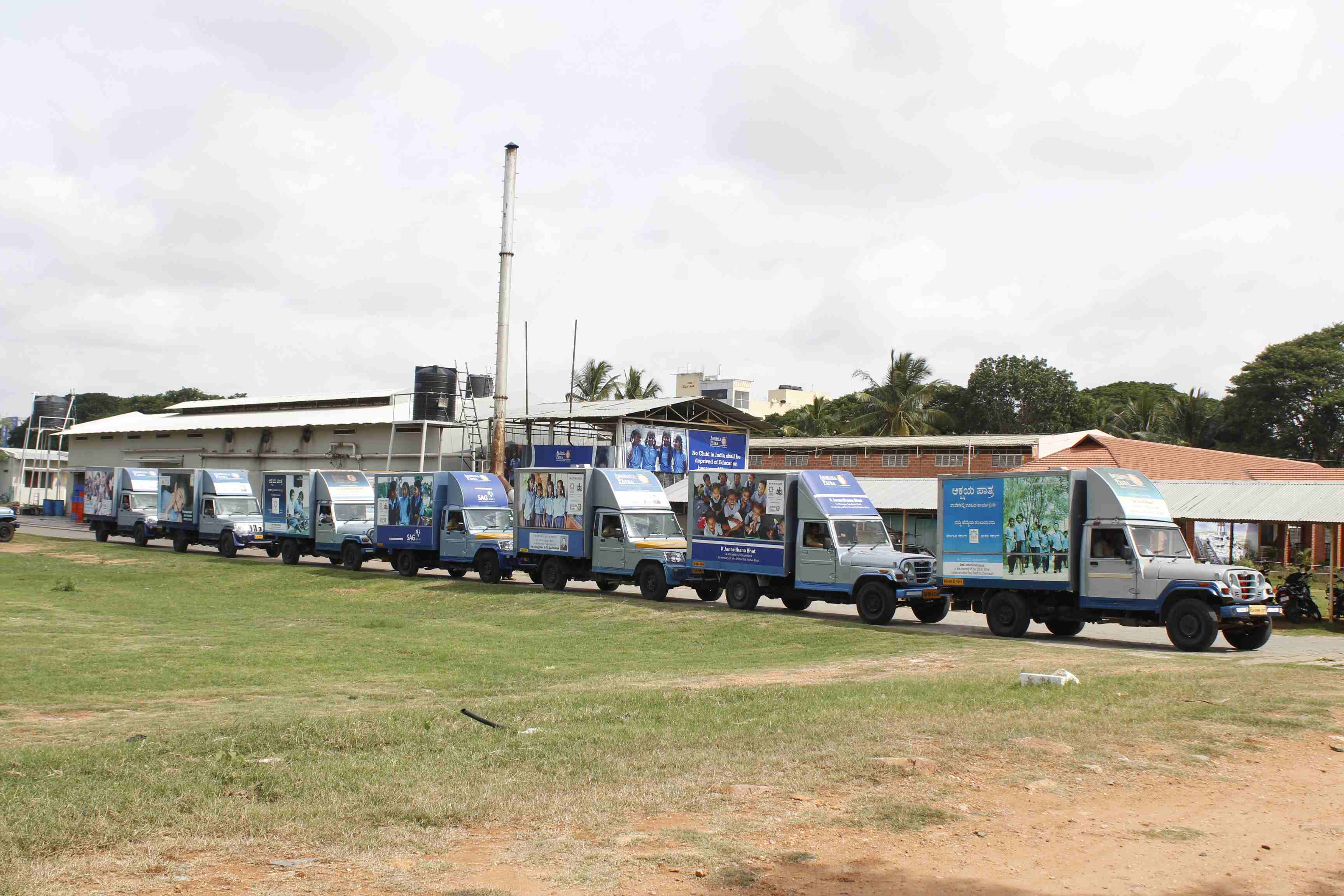 Akshaya Patra vehicles ready for despatch