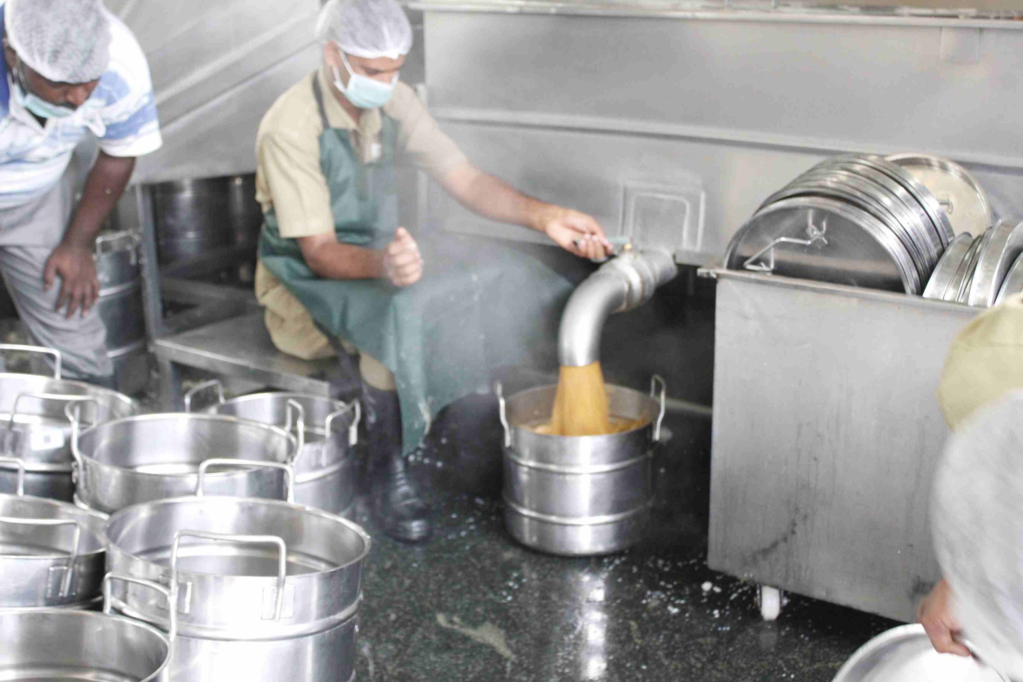 Sambar being filled to School vessels