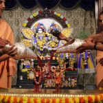 Sri Nityananda & Gauranga receiving Abhisheka  with Fruit Juices