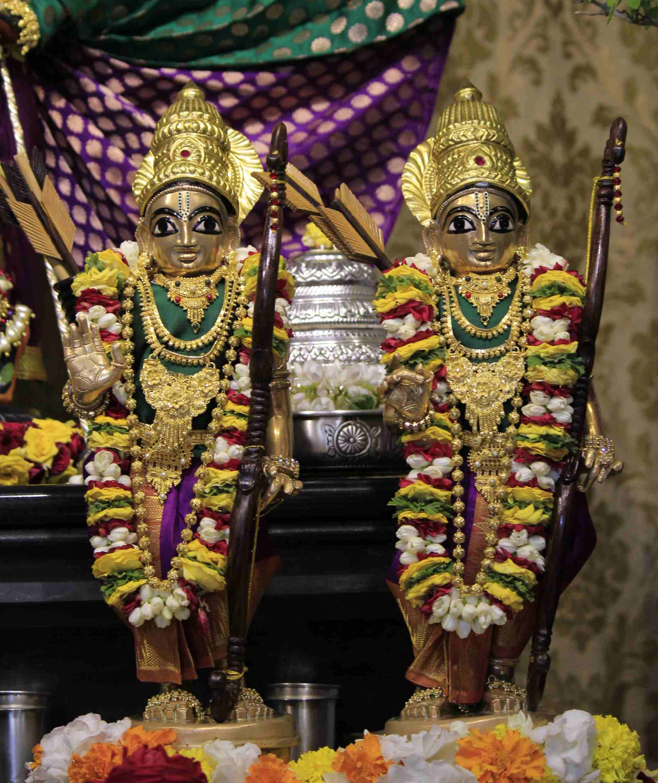 Sri Sri Krishna Balaram adorned as Sri Sri Rama Lakshman